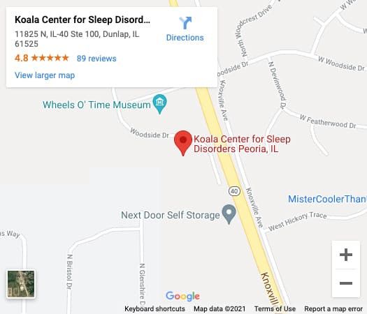 Get Directions From Your Location to Koala® Centers For Sleep & TMJ Disorders in Peoria, IL